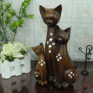 树脂工艺品三口之家猫镶嵌家居摆件