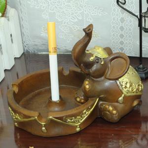 树脂工艺品坐姿大象描金烟灰缸