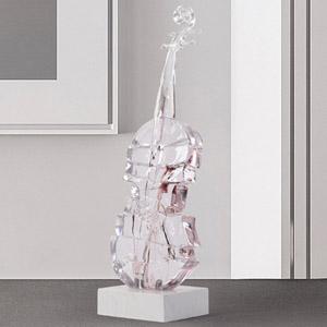 透明树脂工艺品小提琴装饰品软装家居饰品摆件